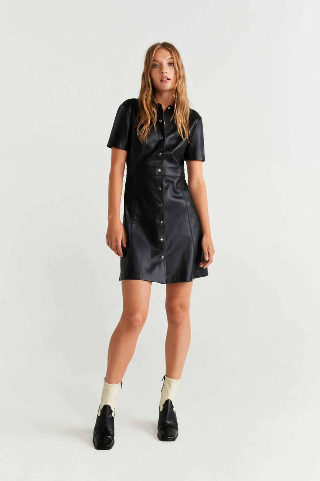 Mango imitatieleren jurk zwart, Zwart