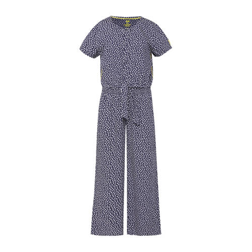 WE Fashion jumpsuit met all over print blauw/wit/g
