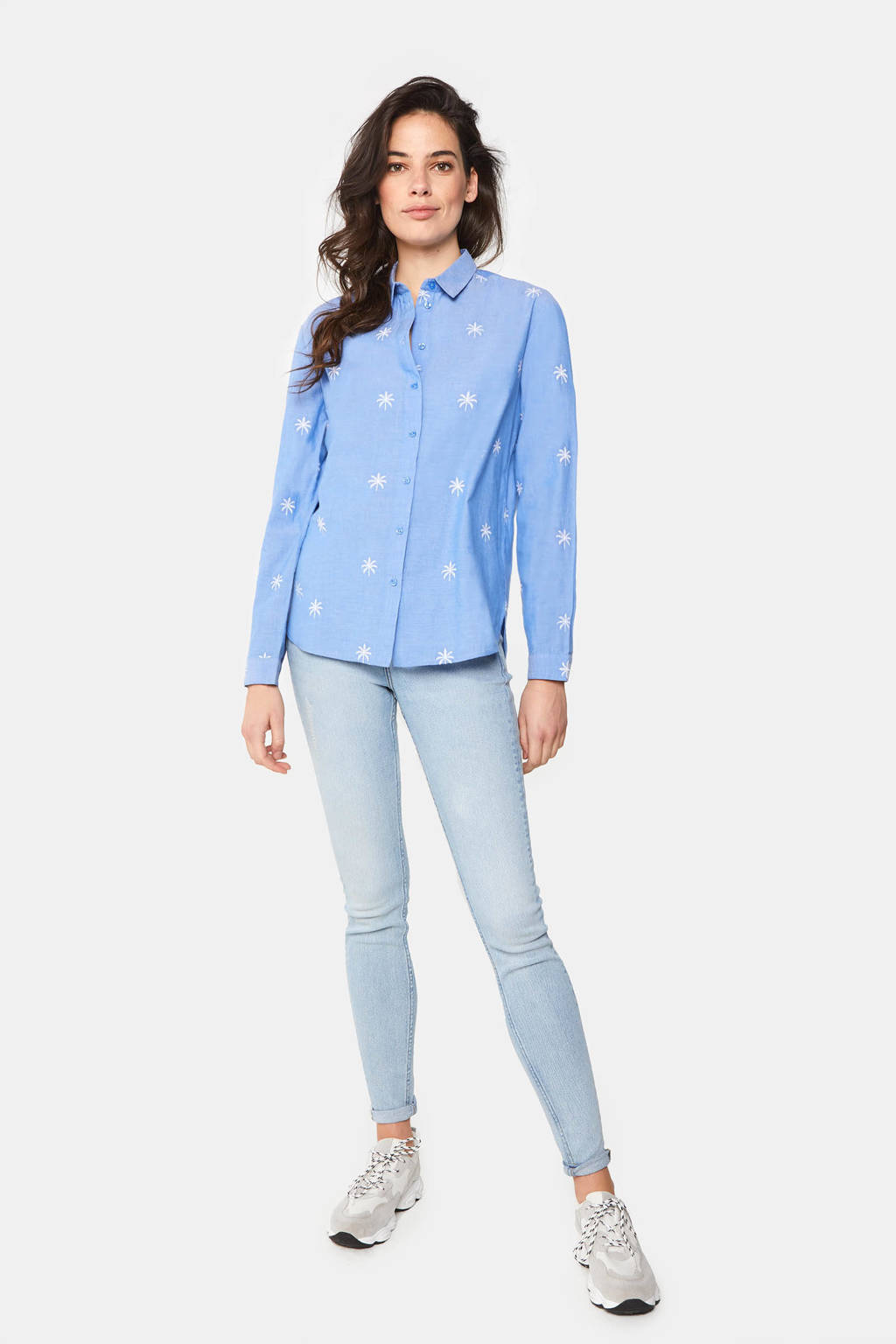 WE Fashion blouse met all over print, Blauw