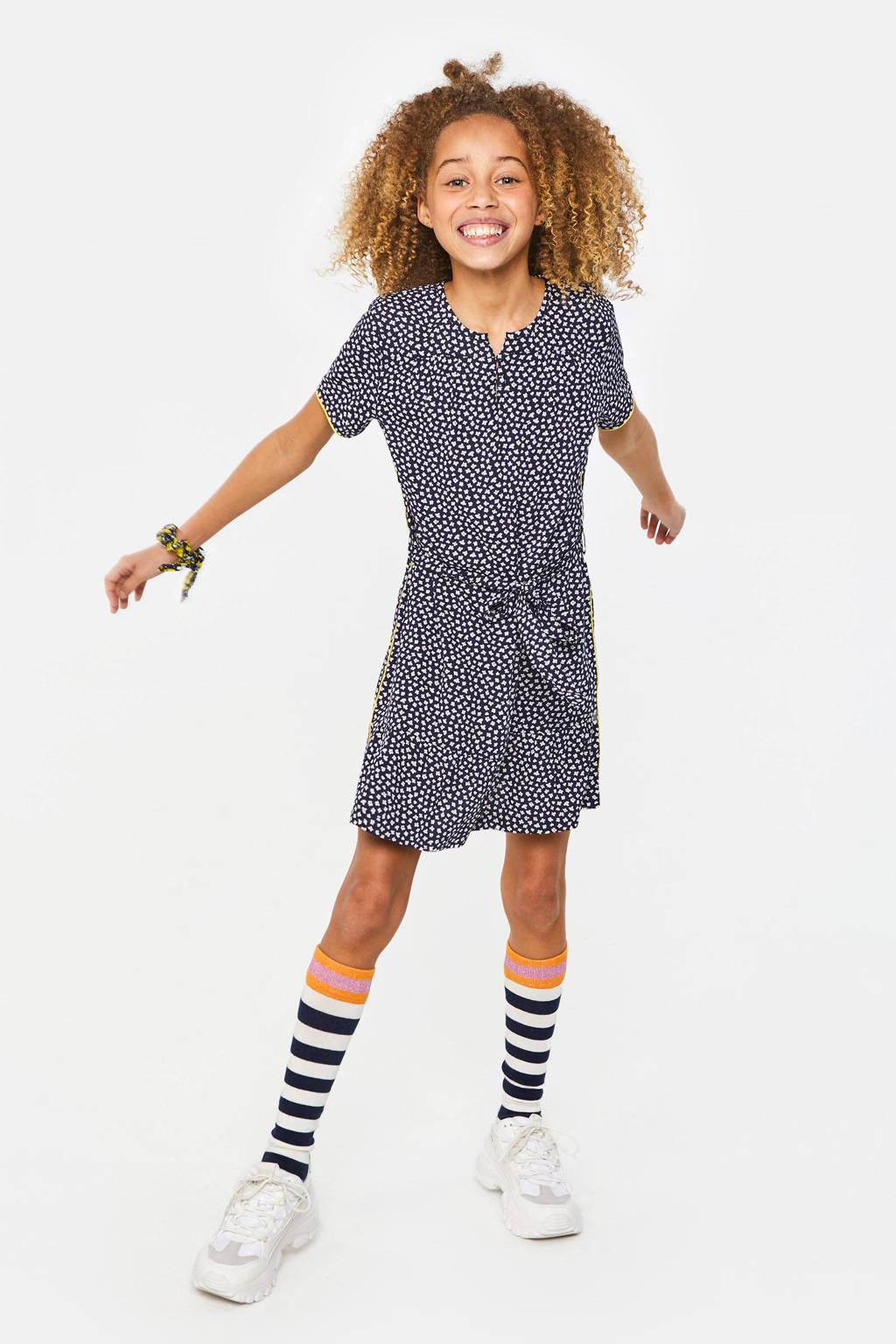 WE Fashion gebloemde jersey jurk met contrastbies en ceintuur donkerblauw/wit, Donkerblauw/wit
