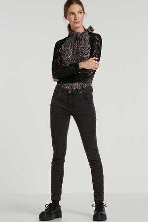 semi-transparante top Rebecca met panterprint en kant zwart