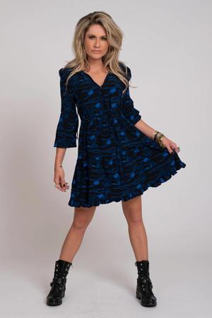 jersey jurk met all over print zwart/blauw
