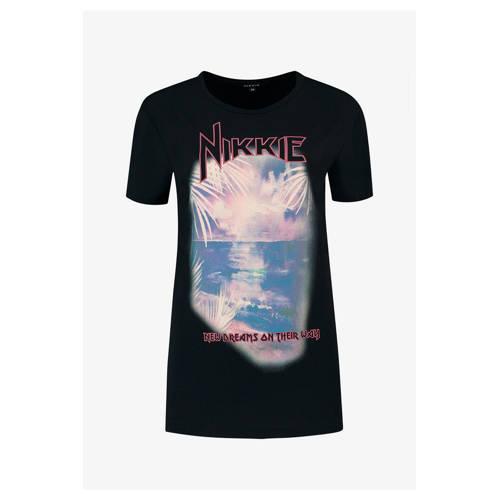 NIKKIE T-shirt met printopdruk zwart