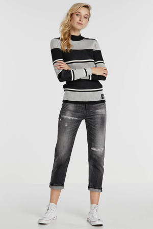 cropped straight fit jeans D-Aryel grijs