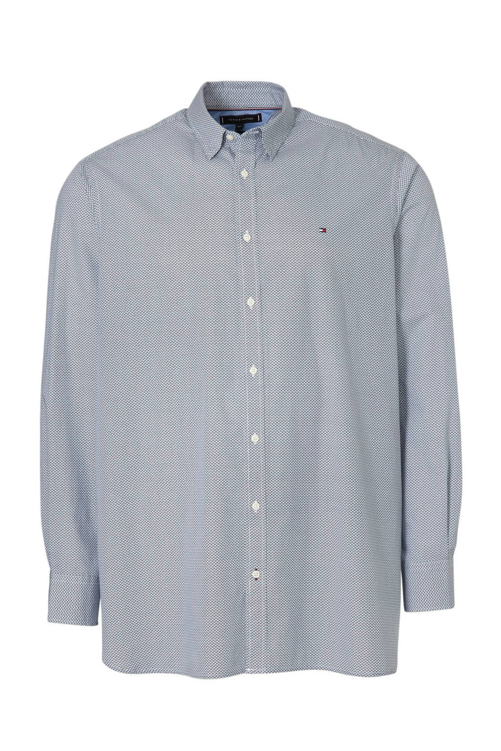 Tommy Hilfiger Big & Tall +size slim fit overhemd met all over print wit/blauw, Wit/blauw