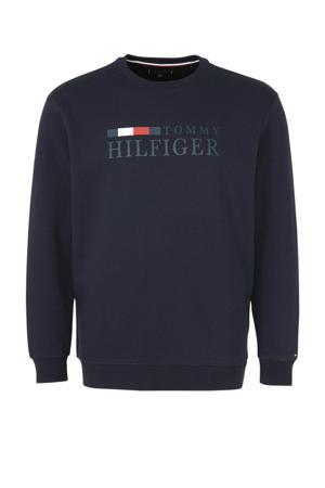 +size sweater met printopdruk zwaer