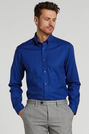 slim fit overhemd met all over print blauw/grijs/wit