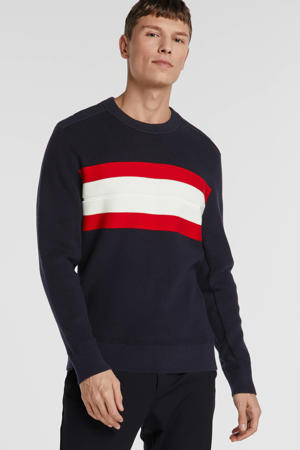 gestreepte sweater donkerblauw/rood/wit