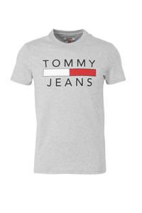 Tommy Jeans T-shirt met logo grijs melange, Grijs melange
