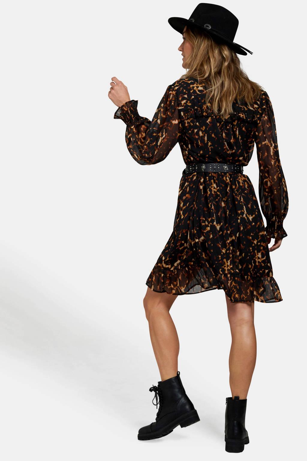 Eksept semi-transparante jurk met all over print en volant bruin, Bruin