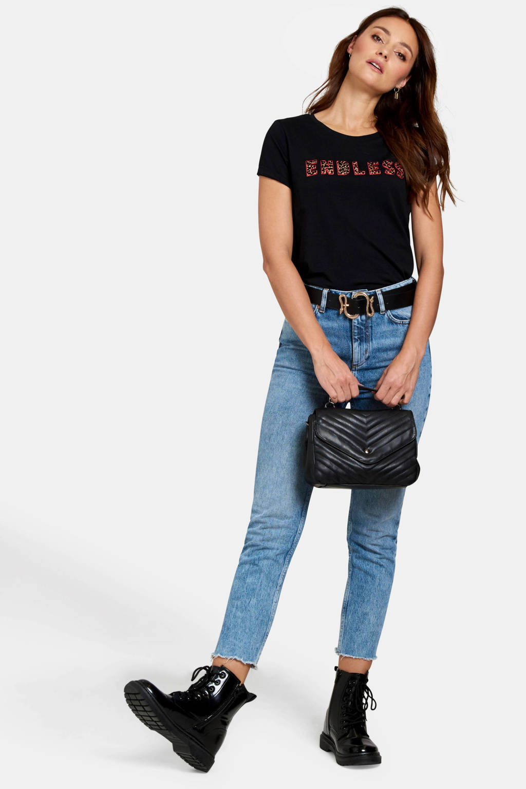 Eksept T-shirt met tekst zwart, Zwart