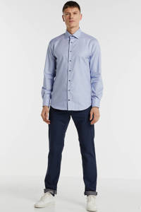 Tommy Hilfiger Tailored regular fit overhemd met all over print donkerblauw, Donkerblauw
