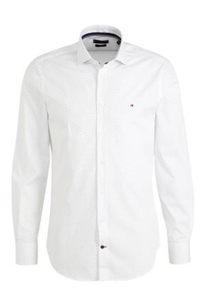 slim fit overhemd met stippen wit