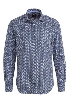 gebloemd regular fit overhemd blauw