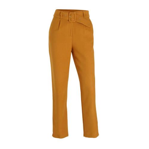 Aaiko Wodoni high waist straight fit broek bruin