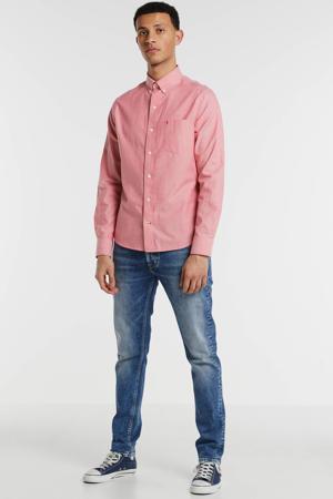 gestreept regular fit overhemd wit/blauw/rood/marine
