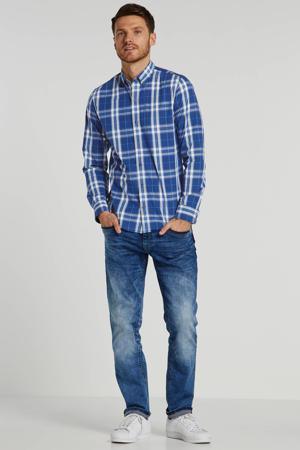 geruit slim fit overhemd blauw/grijs/wit
