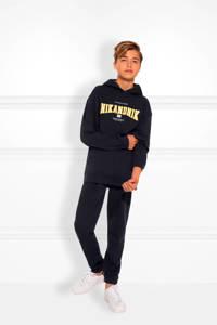 NIK&NIK hoodie Kimo met logo en borduursels donkerblauw/wit/geel, Donkerblauw/wit/geel