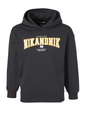hoodie Kimo met logo en borduursels donkerblauw/wit/geel