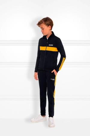 joggingbroek Fody met zijstreep donkerblauw/geel