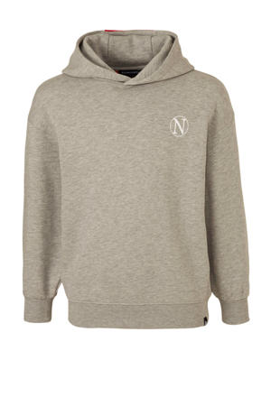 hoodie Kloe met logo grijs melange/rood/wit