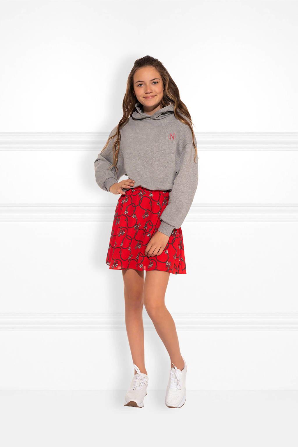 NIK&NIK rok Chainy Cissy met all over print rood/grijs, Rood/grijs