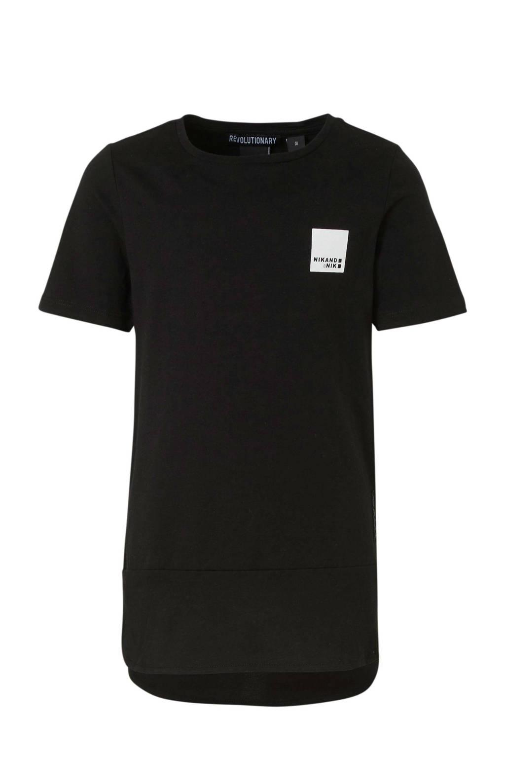 NIK&NIK T-shirt Karlo met printopdruk zwart, Zwart