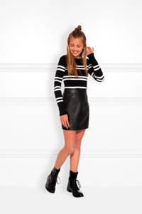 NIK&NIK imitatieleren rok Cisly zwart, Zwart
