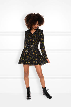A-lijn jurk Chainy met all over print en ruches zwart/geel