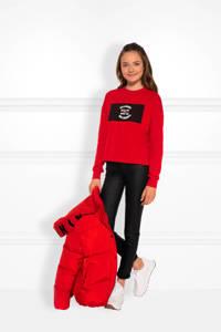 NIK&NIK sweater Karli met printopdruk rood/zwart/wit, Rood/zwart/wit