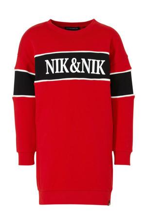 sweatjurk met logo rood/zwart/wit