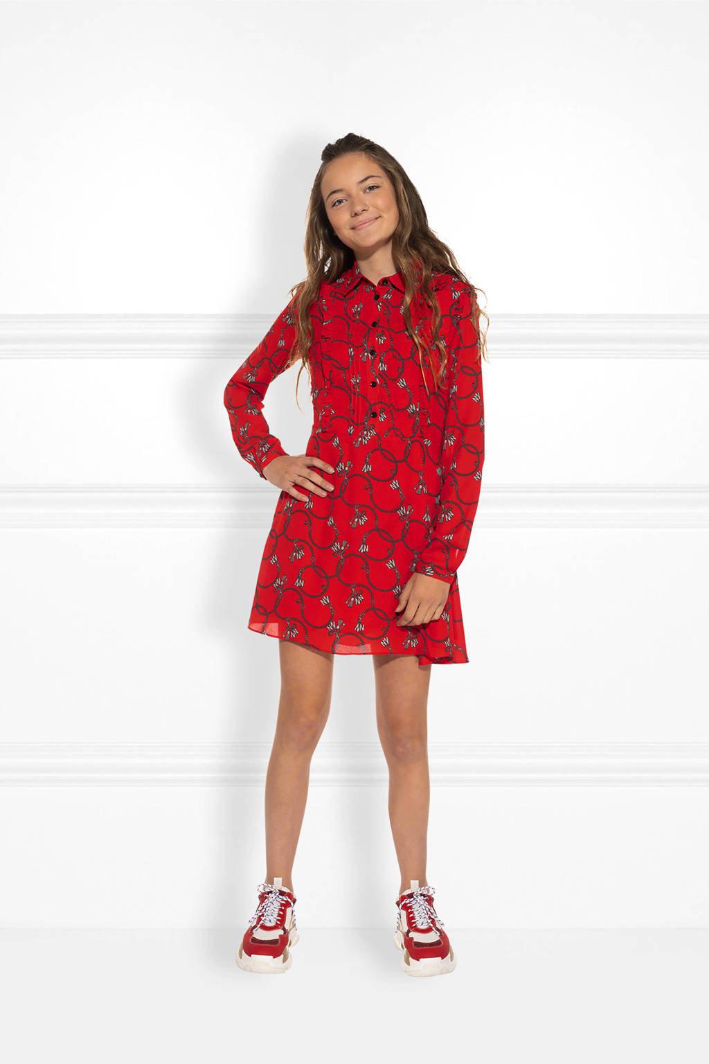 NIK&NIK A-lijn jurk Chainy met all over print en ruches rood/grijs, Rood/grijs