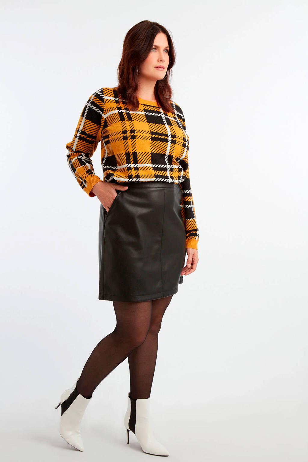MS Mode imitatieleren rok zwart, Zwart