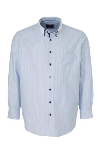 XL Canda gestreept regular fit overhemd lichtblauw/wit/zwart