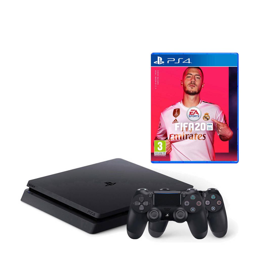 Sony PlayStation 4 500GB + FIFA 20 bundel + 2 controllers, Zwart