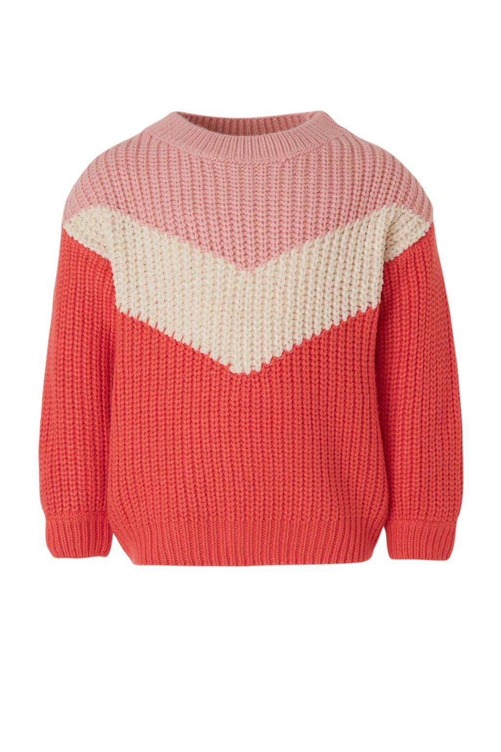 C&A Palomino gebreide trui rood/beige/roze, Rood/beige/roze