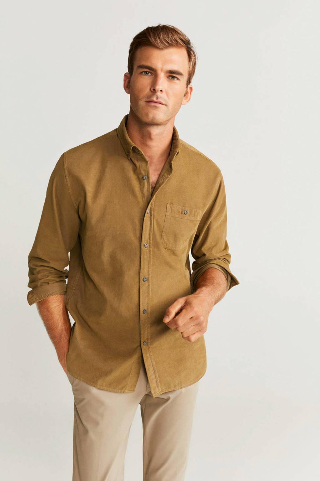 Mango Man corduroy regular fit overhemd oker, Oker