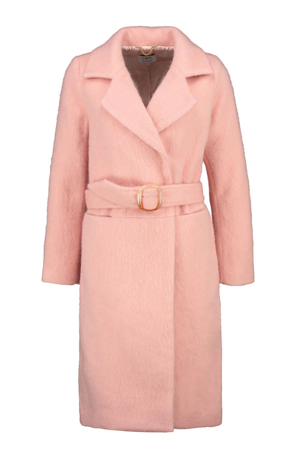 CKS coat met ceintuur roze, Roze