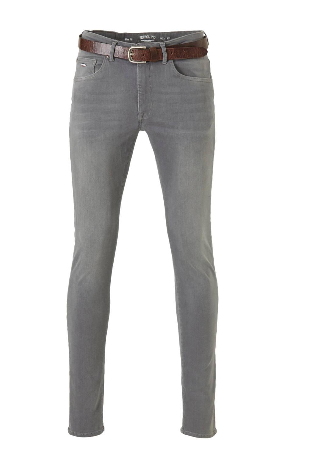 Petrol Industries slim fit jeans Seaham Classic met riem 9700 grey