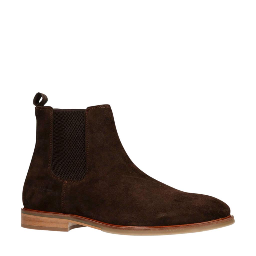 Manfield   suède chelsea boots bruin, Donkerbruin