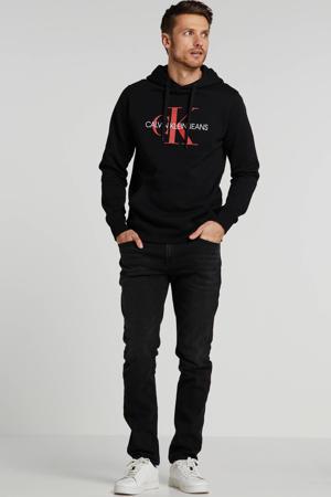 hoodie met tekst zwart/rood/wit