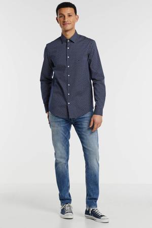 slim fit overhemd met all over print marine