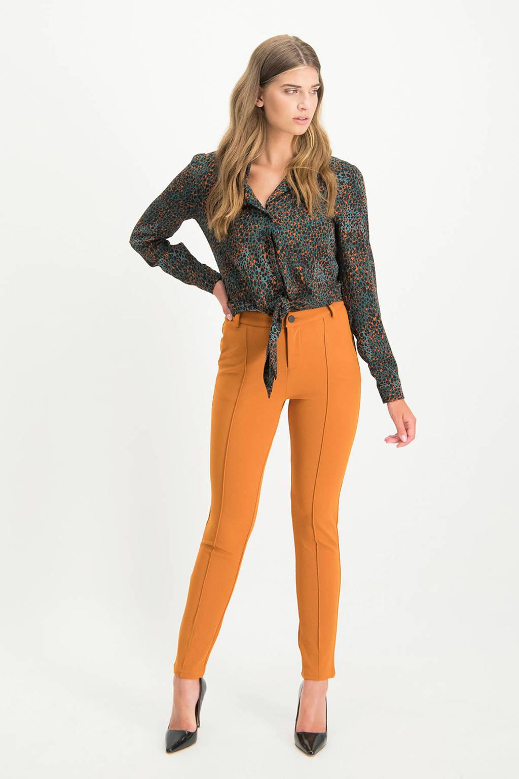 Lofty Manner blouse Kasandra met panterprint turquoise, Turquoise