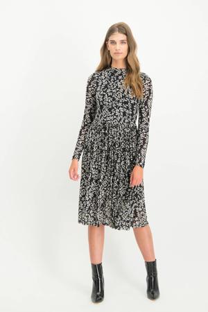 mesh jurk Carola met bloemenprint zwart/wit
