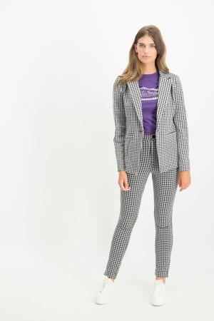 geruite high waist slim fit pantalon Pila zwart/grijs