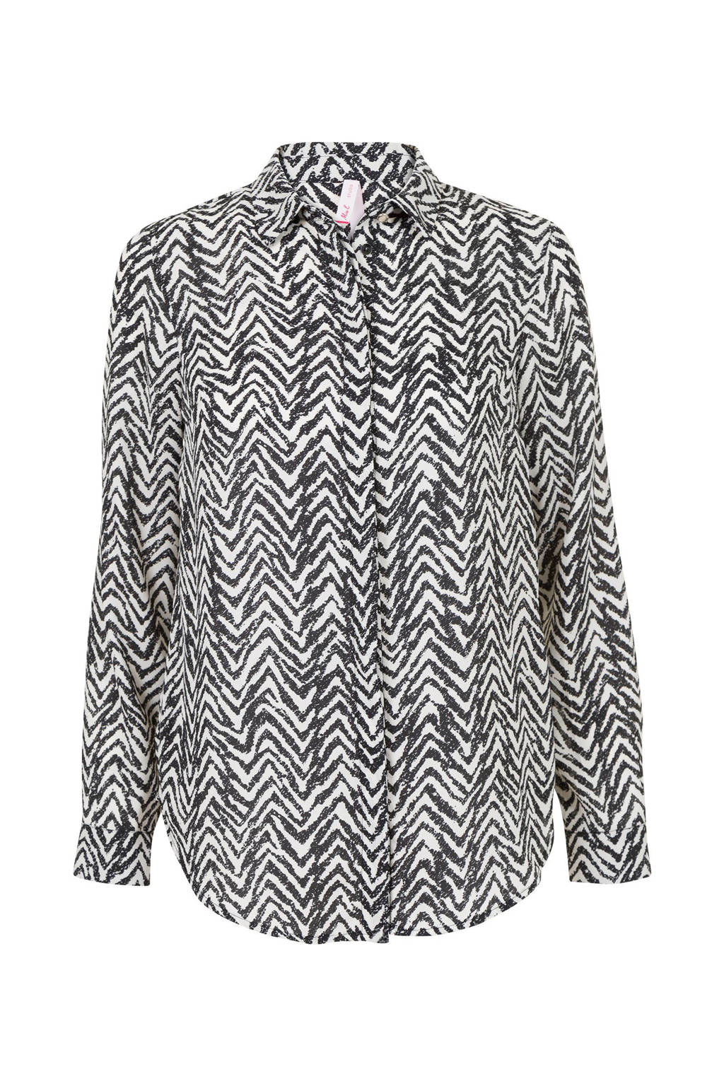 Miss Etam Regulier blouse met all over print zwart/wit, Zwart/wit