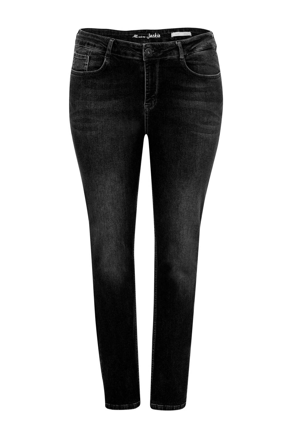 Miss Etam Plus slim fit jeans zwart, Zwart