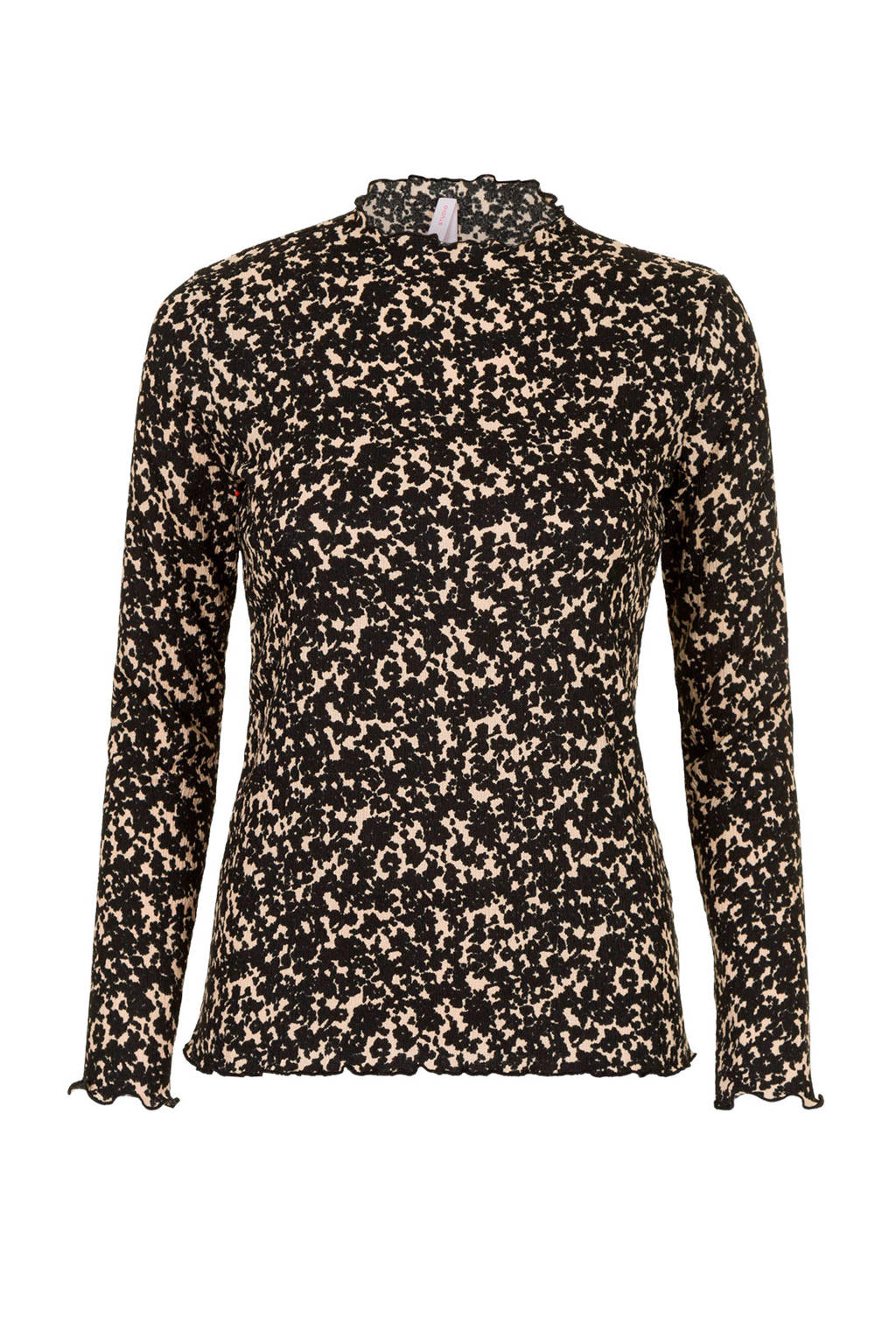 Miss Etam Regulier longsleeve met all over print zwart, Zwart