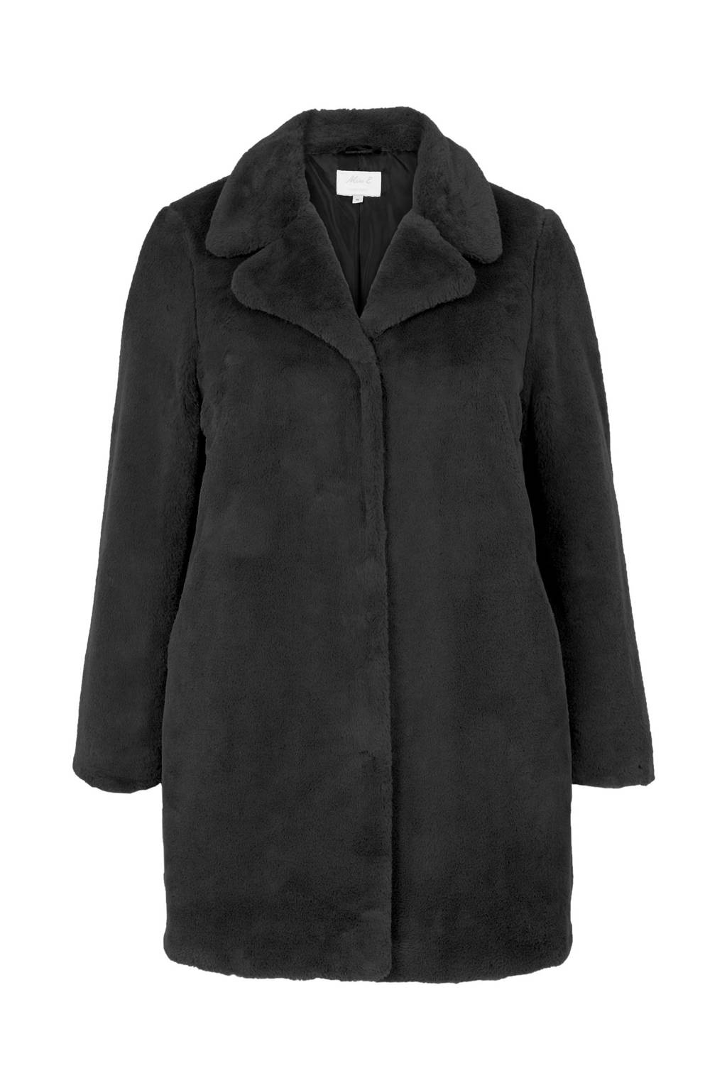 Miss Etam Plus imitatiebont winterjas zwart, Zwart