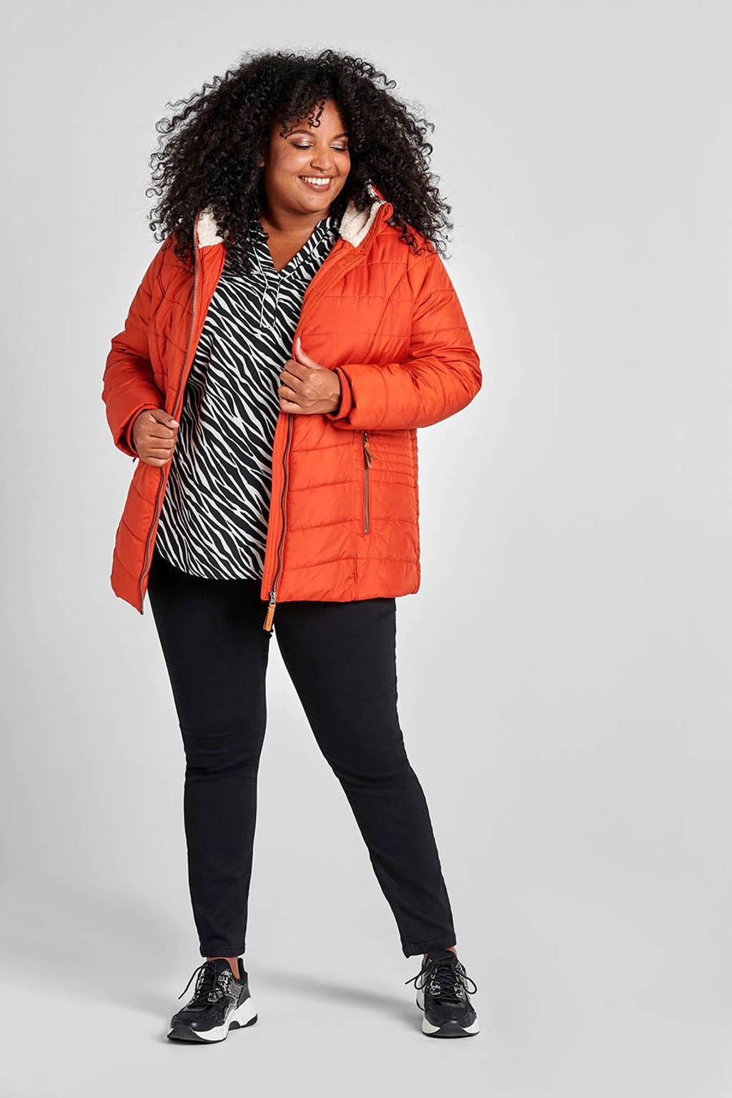 Miss Etam Plus slim fit jeans zwart, Zwart